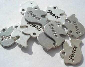 20mm Antique Silver Tibetan Style Peace Pendants, Lead and Cadmium Free, Pack of 20 Peace Pendants, C365