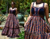 GoRgEoUs 60's 70's GUNNE SAX Prairie boho velvet cotton Navy Rust corset ruffle tiered floral print full sweep sleeveless maxi dress S/M