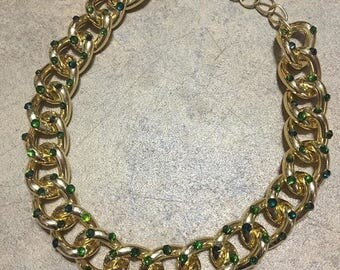Speckled Green Swarovski & Gold Chain