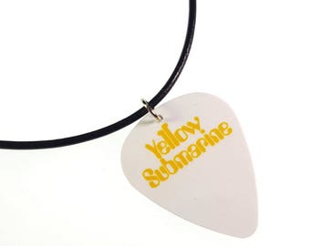 The Beatles YELLOW SUBMARINE Album Cover Art Genuine Guitar Pick Necklace