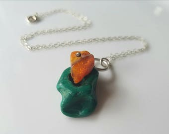 Talisman from the forest, one of a kind sterling silver malachite and amber necklace