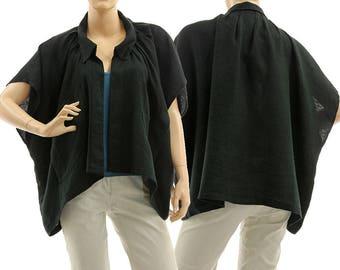 Oversized black boho linen jacket wrap, summer linen jacket wrap, lagenlook wide black linen jacket small to plus size S-XL, US size 8-18