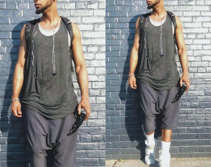 New Drop Crotch Harem Short In Grey Drkshdw inspired athelic yoga hiphop pant jogger