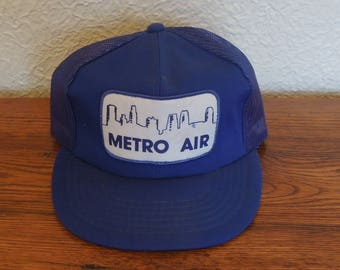 Vintage Trucker Snapback Hat- Metro Air- Blue