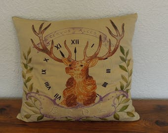 "Antique Hand Embroidered Throw Pillow- Order of Elks BPOE Logo 17"" x 17"""