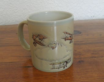 Vintage Otagiri Japan Biplane Coffee Mug 10 oz.