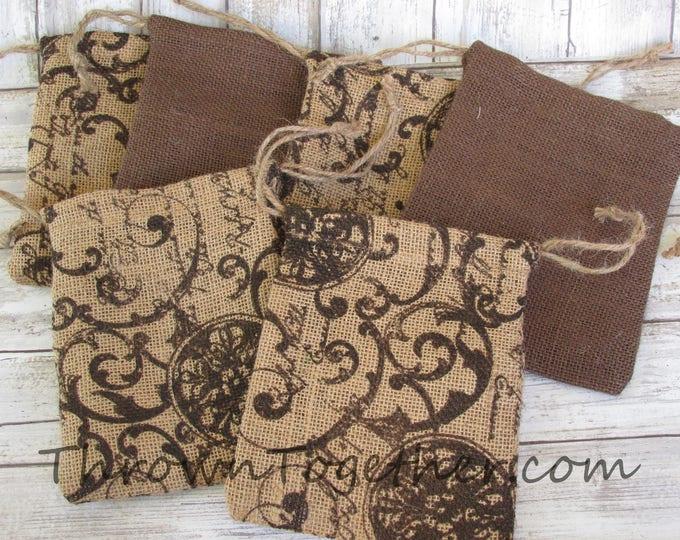 Wedding Favor Bags, Burlap Party Favor Bags, Brown & Scroll Script Burlap Bags, Rustic Favor Bag, Christmas Bag, 8 Handmade Rustic Gift Bags