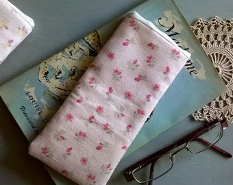 Pale Pink Floral Linen Soft Specs Case or Glasses Case