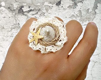 Seashell Ring, Beach Wedding Jewelry, Starfish ring, adjustable ring, Cotton lace