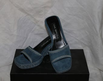 Via Spiga Suede Platform Sandals - Gamon - Denim Tribal Suede - Original Box - New Never Worn - Made in Italy