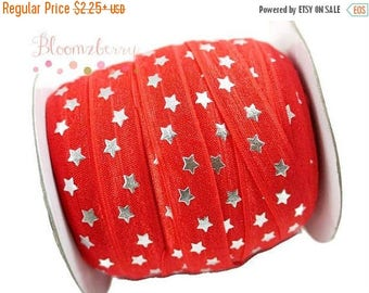 "Summer SALE 10% OFF 5/8"" PRINTED Fold Over Elastic - Red Silver Stars - Red Elastic Fold Over - Printed Fold Over Elastic -  Hair Accessorie"