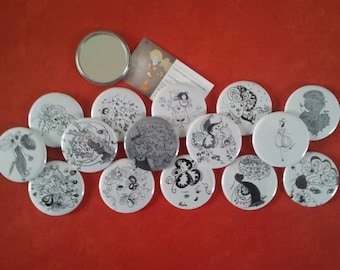 Set of 10 round 5,6 cm, black and white collection 2013 Pocket mirrors