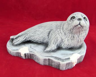 Ready to Ship - Adorable Ceramic Seal Sitting on Ice- 7.5 inches long- hand painted, decor, indoor or outdoor