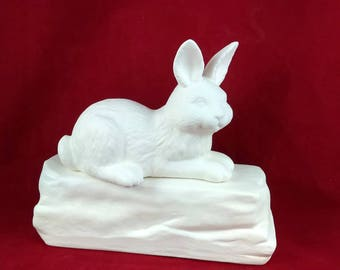 Ceramic Ready to Paint Bottom Loading Rabbit or Bunny Cremation Urn- hand made pet urn