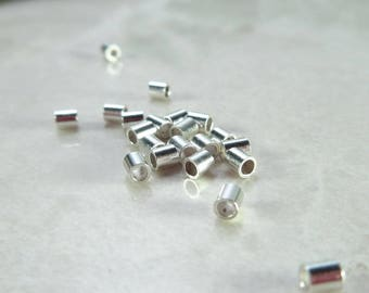 Crimp Beads Sterling Silver 2mm 25 pcs R1001 - Spacer Beads, Crimp Beads, Silver Spacer Beads, Tiny Silver Beads, Tube Beads, 2mm Beads