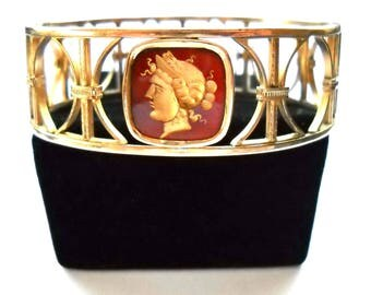 Art Deco Jewelry Simmons  Vintage Carnelian Cameo Roman Goddess Intaglio  Bracelet,  Marked SIMMONS-VENETIAN , Hinged Bangle Circa 1940
