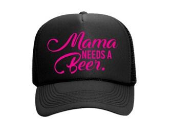Mama Needs a Beer Custom Vinyl Black Foam Trucker Mesh Back Hat Snapback