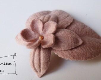 """Brooch """"winter garden"""" powder pink (felt/felt)"""