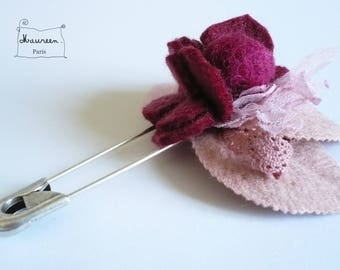 old garden pink and purple (OOAK) brooch