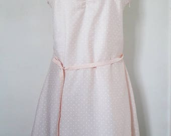odette dress veil cotton/viscose powder pink and white polka dots