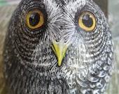 Great Grey Owl Rock (Free Standing) OOAK