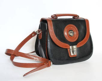 Authentic vintage 1990s handbag,shoulder bag, Kelly bag, Made in England, real leather