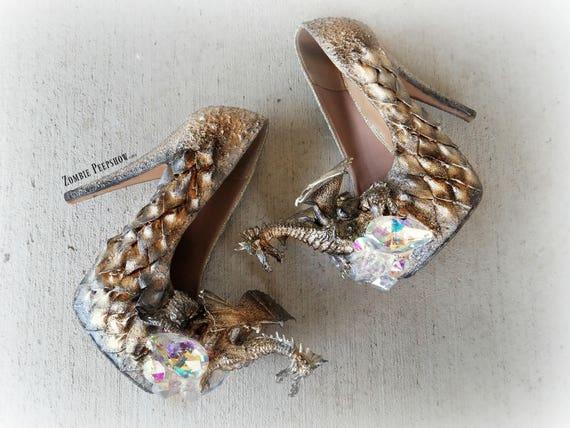 Metallic Dragon Scale Crystal Heels