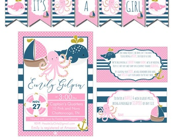 Digital Pink, Gold and Navy Nautical Baby Shower Decorations Package Banner, Games, Diaper Raffle, Cupcake Toppers, Water Labels CPP010