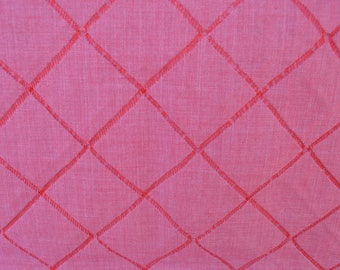 1.5 Yards Interesting Stitched Squares Fabric Red Pink