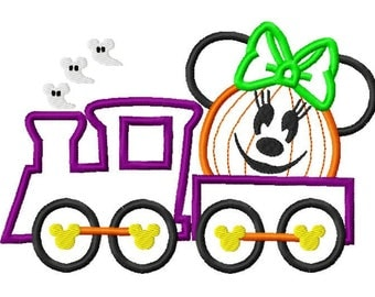 Mouse Inspired Halloween Pumpkin Train Custom embroidered Disney Inspired Vacation Shirts! 1005a girl