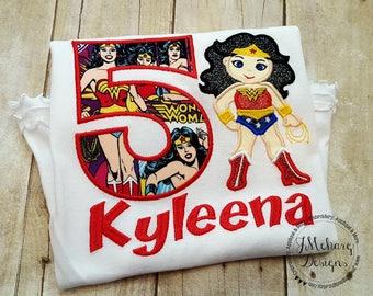 Super Hero Custom embroidered Wonder Woman Inspired Birthday Shirt 106 comic