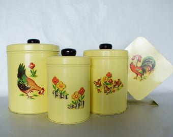 Vintage Yellow CANISTER Set Napkin Holder Metal Decal Rooster Country Set