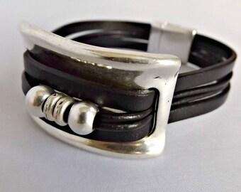 Womens bracelet, women bracelet, gift for women, leather bracelet, gift for her, beaded bracelet, wrap bracelet, half bracelet, KLB1004