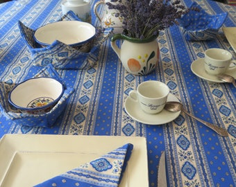 "Square cotton Tablecloth . 40"" to 60"". CHOOSE THE COLOR ! Blue or terra cotta.Fabric from Provence ,France Matching napkins available."