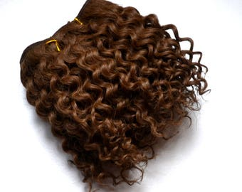 Jerry curled weft mohair, weft for mohair wig dolls, dark brown