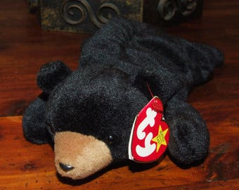 Vintage 90's Ty The Bean Babies Collection Original Blackie the Grizzy Bear Plush Stuffed Animal