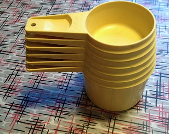 Vintage Tupperware Yellow Measuring Cups Set of Six Stacking