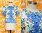 Silk Floral Blouse // Short Sleeve Silk Top // Maggy London Feminine Silky Gold Button Down Shirt Size 10 Medium
