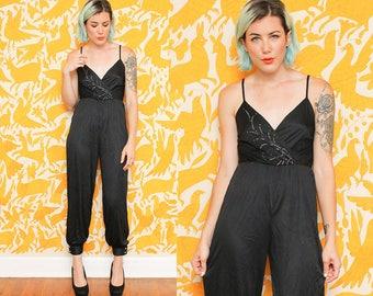 Black Jumpsuit // Disco Pantsuit Romper // 1980s Silver Glitter Sparkle Tank Top Jumper Nylon Size Small
