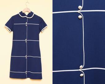 Mod Dress // Peter Pan Collar Dress // 1960s Short Sleeve Navy White Polyester Shift Tennis Dress Mini Retro Size Small Medium