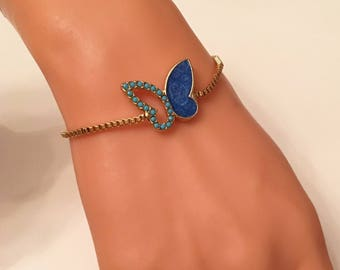 Gold Plated Turquoise Batterfly Bracelet with Elevator Lock ,Bracelets,Gold Jewelry,Summer Elegant Jewelry,Gold Bracelet,Blue Charm Bracelet