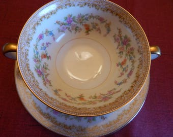 NORITAKE 712 MEDEAN China---2 Handled Soup Bowl and Saucer (2 pc)