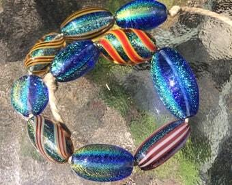 Handblown Glass Dichroic Beads - Wholesale - Variety 10 pack