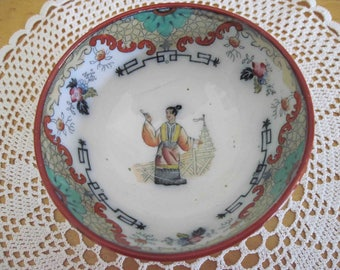 Oriental Rice Bowl, porcelain and hand painted