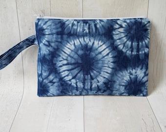 Flat zipper pouch/ Makeup/ Clutch bag