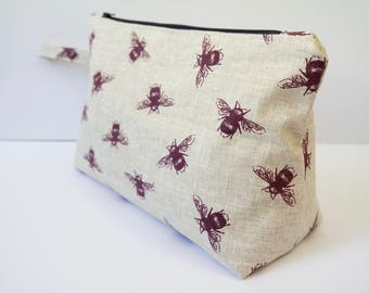 large toiletry bag travel bag cosmetics bag made with cotton linen fabric and