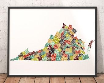 Virginia map Etsy