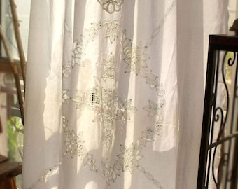 84 Long Antique Boho SHABBY Rustic Chic Burlap Lace SHOWER Curtain Fringe Gypsy Hearts White