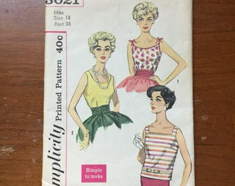 Vintage Simplicity larger size 18 blouse pattern