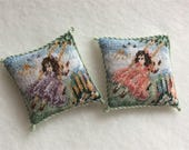 Dolls house tapestry Pillow GIRL ON A SWING